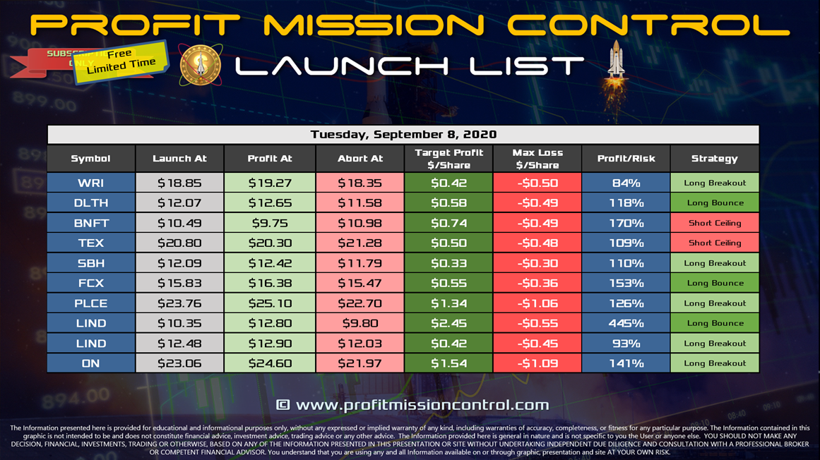 Launch List 9-8-2020